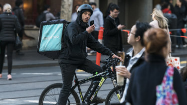 Many Deliveroo drivers make deliveries via bicycle.