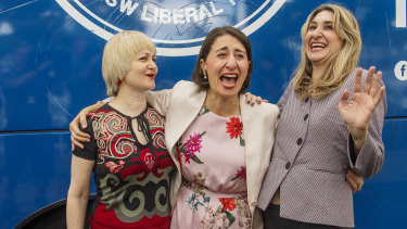 Gladys Berejiklian with her two sisters Rita and Mary in Heathcote on Friday.
