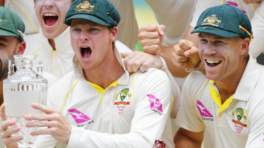 Steve Smith and David Warner after Australia's 4-0 Ashes defeat of England at the SCG in January.
