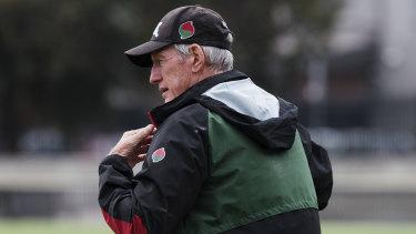 Master coach: Wayne Bennett oversees Souths training.