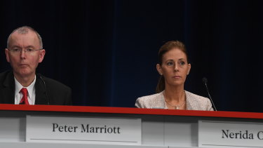 Westpac directors Peter Marriott and Nerida Caesar had votes against their re-election at Westpac's AGM in Sydney on Thursday.