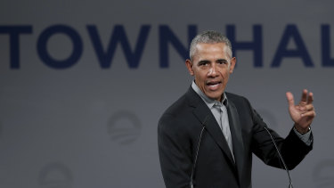 Former US President Barack Obama at a town hall meeting in Berlin.