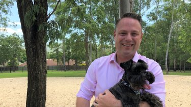 Brisbane lord mayor Adrian Schrinner at a dog park in The Gap.