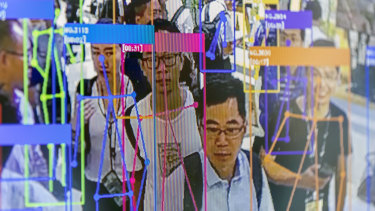 A screen demonstrates facial-recognition technology at the World Artificial Intelligence Conference (WAIC) in Shanghai, China. Companies are being forced to innovate.