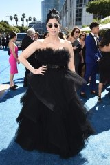 Going up ... Sarah Silverman in small sunglasses at the Emmys.