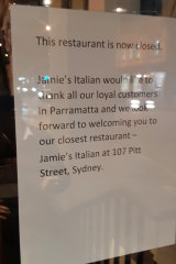 A sign now taped to the door states the restaurant is closed.