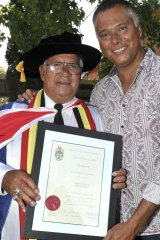 Stan Grant with his dad at his graduation ceremony.