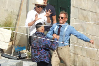 Daniel Craig on location in the southern Italian city of Matera.