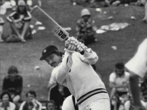 Chetan Chauhan hits a drive en route to making 42 in the fourth Test between India and Australia at the SCG in 1978. India won that match by an innings and two runs.