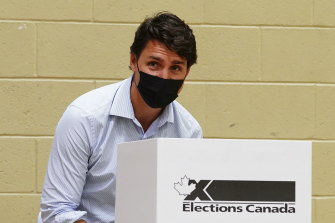 Liberal leader Justin Trudeau votes in  Montreal, Quebec on Monday.