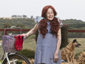 Irene Hannah, 87, posed as Dorothy (Judy Garland) in The Wizard of Oz