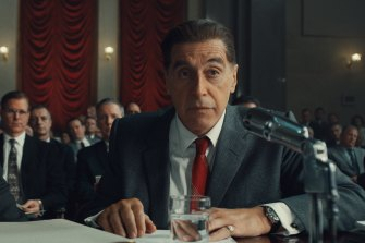 Al Pacino as Jimmy Hoffa in Martin Scorsese's The Irishman, destined for Netflix, and cinemas, this month.
