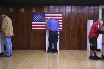 Voters fill out their ballots in Tulsa, Oklahoma.