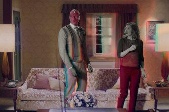 Paul Bettany as Vision and Elizabeth Olsen as Wanda Maximoff in WandaVision.