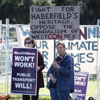 Protesters in Haberfield in 2016. Inner-city communities have borne the impact of the project.