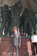 Jeff Perry at the Bomber Command memorial in Green Park, London, taken at its unveiling by the Queen on June 28,  2012.