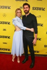 "Emily Blunt, and husband John Krasinski, arrive for the world premiere screening of ""A Quiet Place"" during the South by Southwest Film Festival in March."