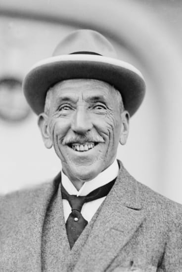 Former Prime Minister Billy Hughes, pictured in 1919 following his return from the Paris Peace Conference.