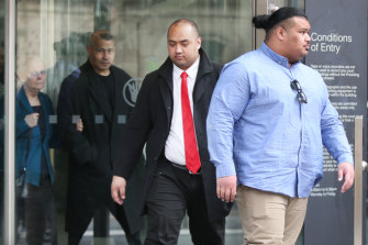 Friends and family of Ben Togiai leave the Victorian County Court on Thursday.