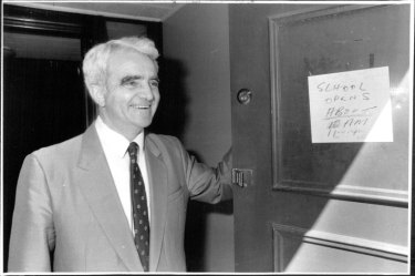Headmaster Reg St Leon welcomes the pupils back to school after days of not knowing if they had a school or not, September 10, 1986.