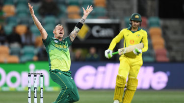 Breakthrough: South Africa's Dale Steyn  dismisses Australia's Alex Carey for 42.