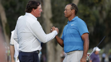The pair shake hands at the Players Championship this year.