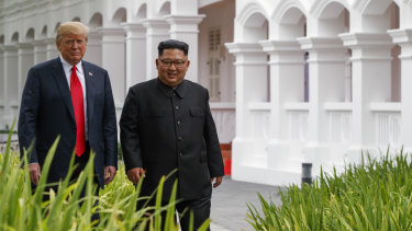 Donald Trump and Kim Jong-un in Singapore on Tuesday.