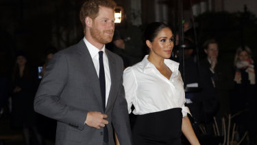 The Duchess of Sussex in custom Givenchy attending the Endeavour Fund Awards in February.