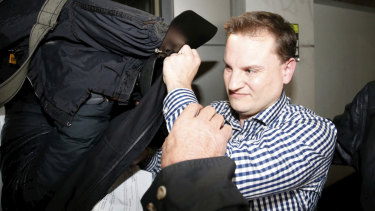 Richard Grabski leaves the Melbourne Magistrates Court on Tuesday evening.