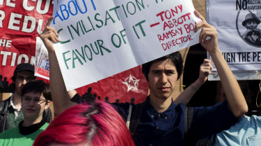 Students protesting against the establishment of a course in Western civilisation at the University of Sydney.