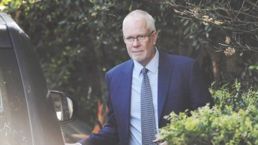 ABC chairman Justin Milne leaves his home on Thursday morning.