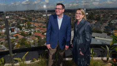 Premier Daniel Andrews and Public Transport Minister Jacinta Allan at a press conference in Box Hill on the new rail project.