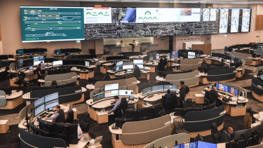 """""""Bigger and better than NASA"""": The giant 33-metre screen inside Sydney Trains' new command centre."""