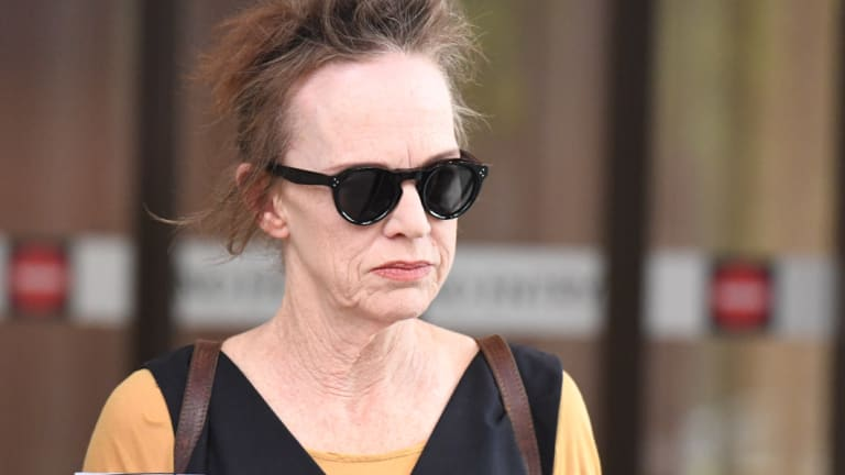 Actor Judy Davis outside court on Monday.