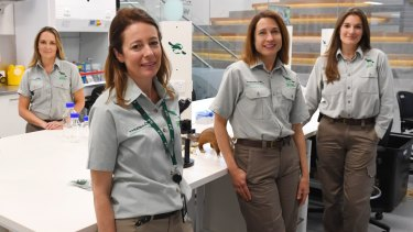 About 60 per cent of researchers at the zoo are female - a figure employees hope will encourage more young girls to work in science. Researchers Phoebe Meagher, Justine O'Brien, Karrie Rose and Michelle Shaw.
