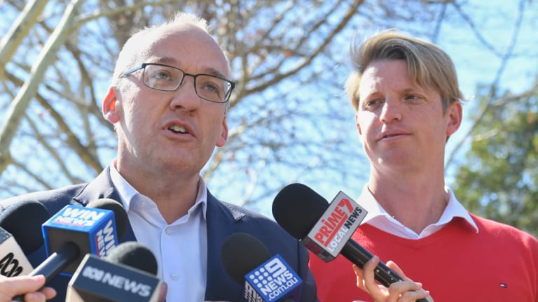NSW Labor leader Luke Foley with his candidate Dan Hayes in Wagga Wagga on Friday.