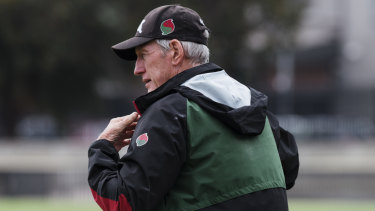 Master coach: Wayne Bennett oversees Souths training.
