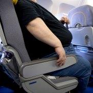 Obese passenger on plane.