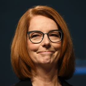 Former Australian prime minister Julia Gillard reacts during the National Apology to victims and survivors of Institutional Child Sexual Abuse at Parliament House in Canberra, Monday, October 22, 2018. (AAP Image/Lukas Coch) NO ARCHIVING