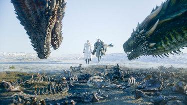 Daenerys Targaryen (Emilia Clarke) and Jon Snow (Kit Harington) in a scene from the Game of Thrones premiere.
