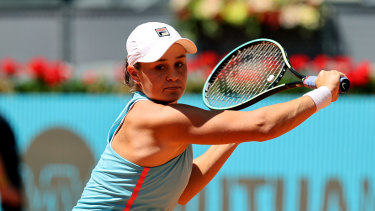 Ashleigh Barty plays a backhand during her third round match in Madrid against Spaniard Paula Badosa.