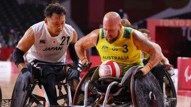 Ryley Batt in action for Australia against Japan today.