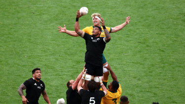 Shannon Frizell of the All Blacks takes a lineout ball during the Bledisloe Cup opener in Wellington.