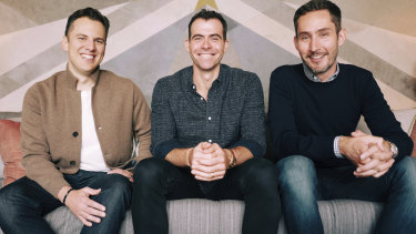 Instagram's chief executive Adam Mosseri, centre, poses for a photo with Instagram co-founders Kevin Systrom, right, and Mike Krieger.