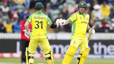 Leading lights: David Warner congratulates Aaron Finch on reaching 50.