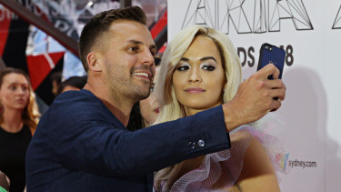 Selfie chaser: Beau Ryan with Rita Ora.