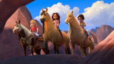 Abigail Stone (Mckenna Grace) riding Boomerang, Lucky Prescott (Isabela Merced) riding Spirit and Pru Granger (Marsai Martin) riding Chica Linda in Spirit Untamed.