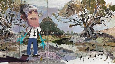 Ben Quilty's Wilcannia, Zombie Rorschach(detail), 2013.
