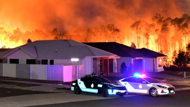 The Peregian Springs bushfire on the Sunshine Coast in September 2019, where several homes were destroyed.