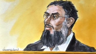 A court sketch of Haisem Zahab, 44, who has pleaded guilty to researching and developing rockets and warning systems for Islamic State.
